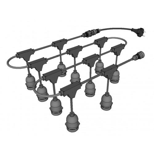 Guirnalda exterior decorativa casquillo E27 suspendida 5mts 10 bombillas