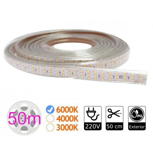 tira de led 220V triple 6000K 276 led metro bobina 50m exterior