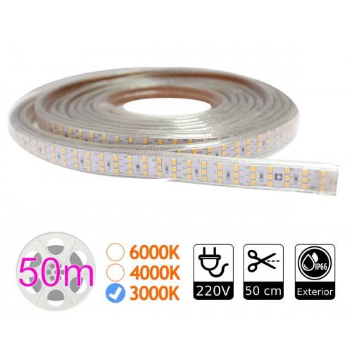tira de led 220V triple 3000K 276 led metro bobina 50m exterior