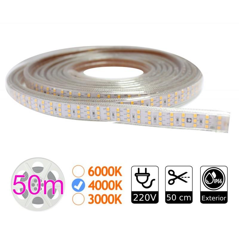 tira de led 220V triple 4000K 276 led metro bobina 50m exterior