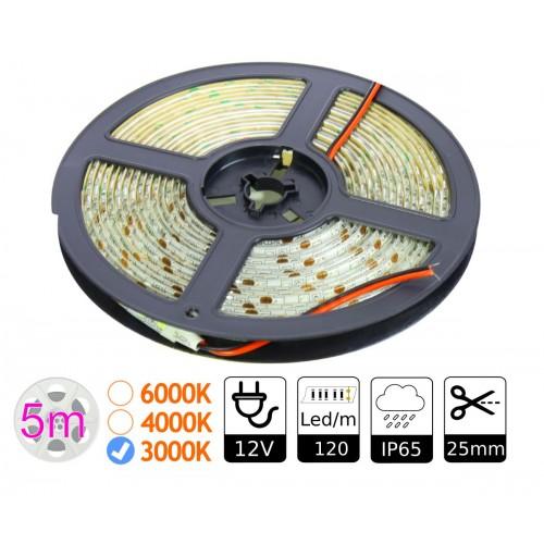 Tira Led 12v 3000K 120 Leds/m Exterior Doble PCB Smd3528 Bobina 5m