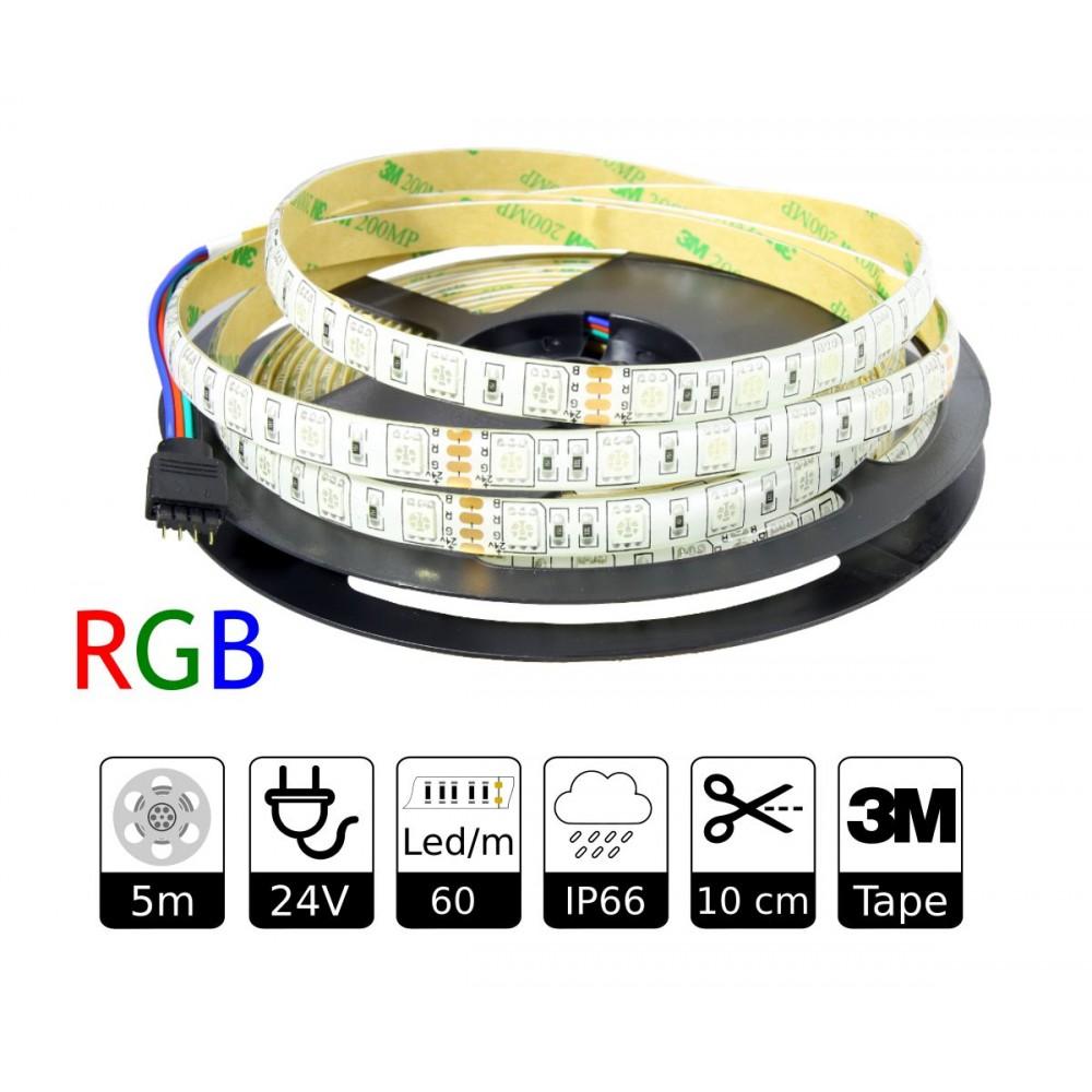 Tira led 24v rgb smd5050 60 leds exterior adhesivo 3m - Tiras de led para exterior ...