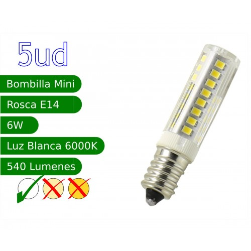 Bombilla LED E14 miniatura 6W blanco 6000K frio Blister 5 uds