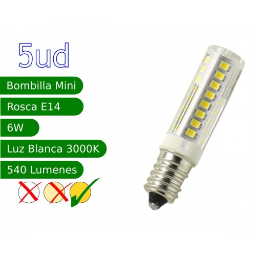 Bombilla LED E14 miniatura 6W blanco 3000ºK calido Blister 5 uds