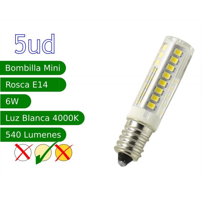 Bombilla LED E14 miniatura 6W blanco natural 4000ºK Blister 5 uds