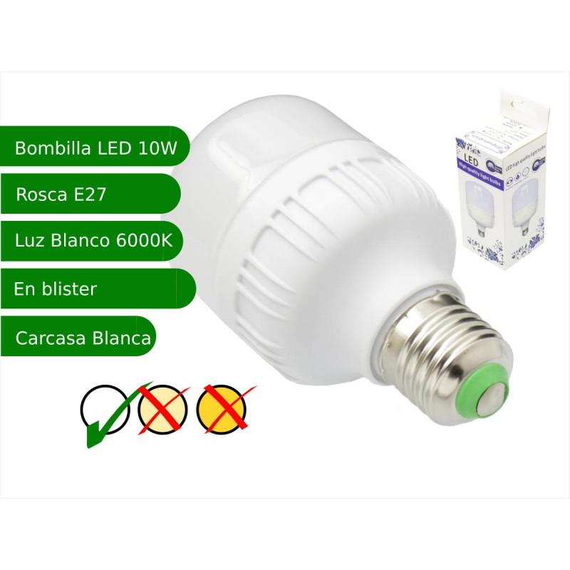 Bombilla LED 10W rosca E27 luz 6000K blanca fria