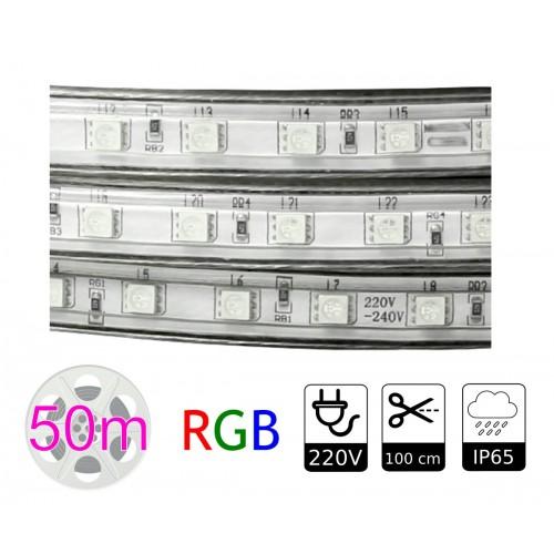 Tira de led 220V RGB exterior 10w metro bobina 50 metros