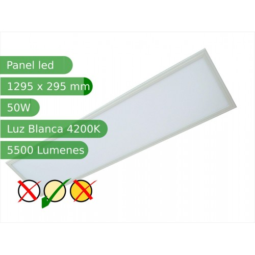 Panel led rectangular 50W 1200*300mm Blanco 4200K marco blanco