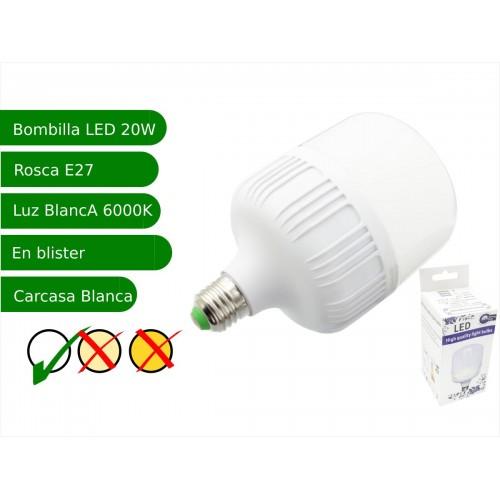 Bombilla LED 20W rosca E27 luz 6000ºK blanco frio