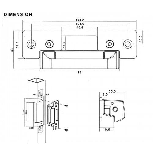 Cerradura electrica automática ANSI encastrada 124*43*35