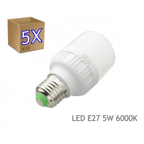5 x Bombilla LED 5W rosca E27 luz 6000K blanca fría