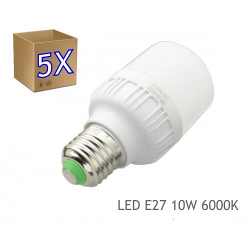 5x Bombillas LED 10W rosca E27 luz 6000K blanca fria