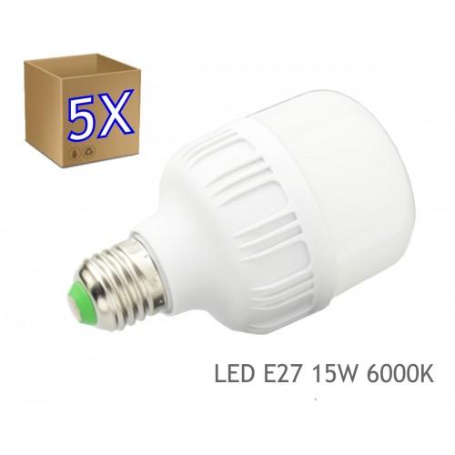 5 x Bombilla LED 15W rosca E27 luz 6000K blanco frio