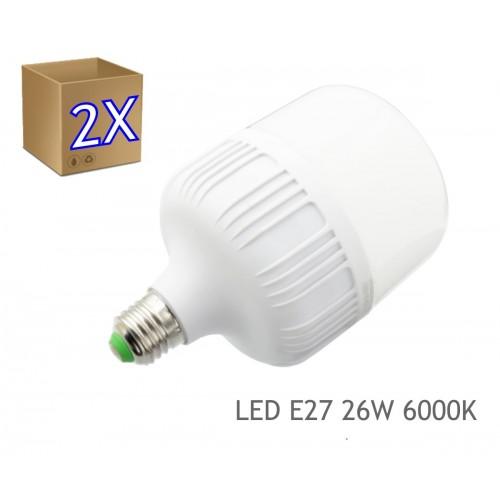2x Bombilla LED 26W rosca E27 luz 4200K blanca natural