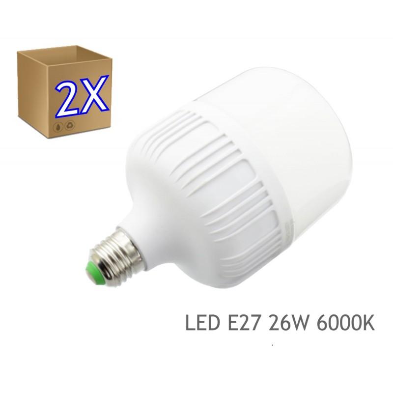 2x Bombilla LED 26W rosca E27 luz 4000K blanca natural