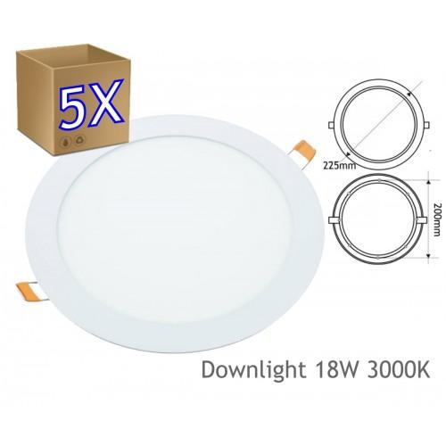 5x Downlight led 18W 3000K redondo empotrar blanco