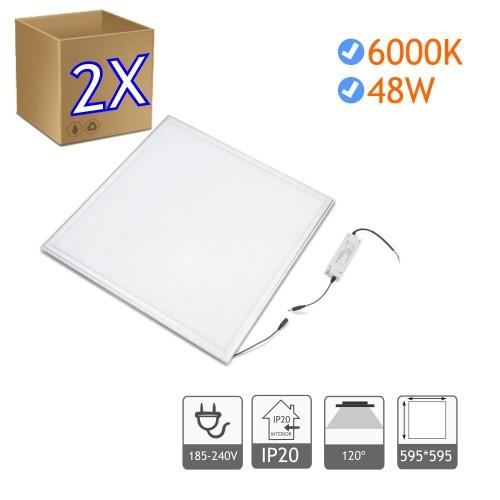 2x Panel led 60 x 60 cm 48W Bl. 6000K marco blanco