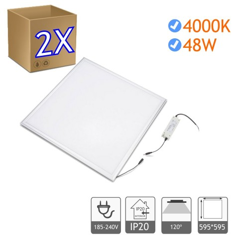 2x Panel led 60 x 60 cm 48W Bl. 4200K marco blanco
