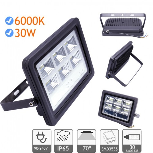 Foco proyector led exterior 30W 6000K negro 220V