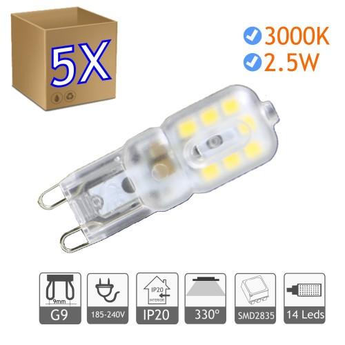 Bombilla LED G9 2.5W blanco 3000ºK cálido Blister 5 uds