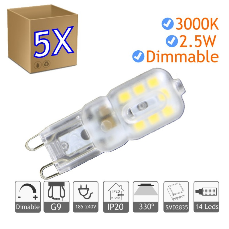 Bombilla LED G9 regulable 2.5W blanco 3000ºK calido Blister 5 uds