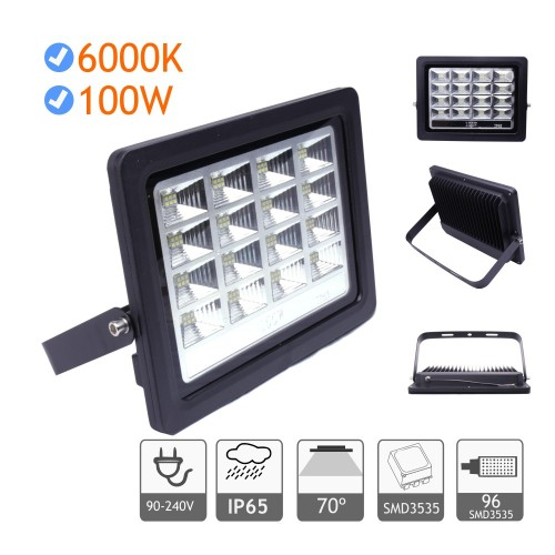 Foco proyector led exterior 100W 6000K negro 220V