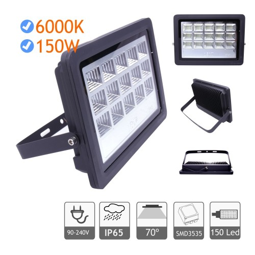 Foco proyector led exterior 150W 6000K negro 220V