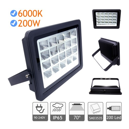 Foco proyector led exterior 200W 6000K negro 220V