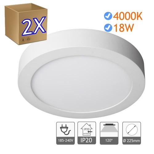 Downlight led superficie 4200K, aro color blanco y fabricado en aluminio