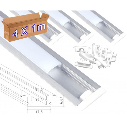 4*1m Perfil aluminio tira led empotrar tapa redondeada traslúcida 24,5x17,5mm- Jandei