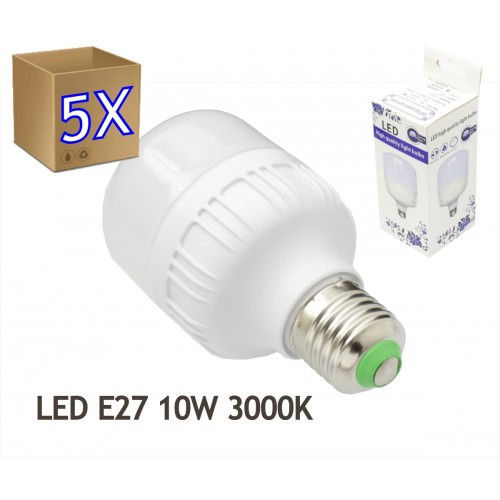 5x Bombillas LED 10W rosca E27 luz 3000K blanco cálido