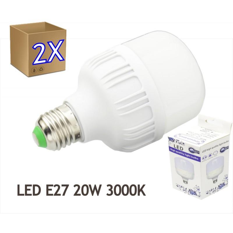 2x Bombilla LED 20W rosca E27 luz 3000ºK blanco cálido