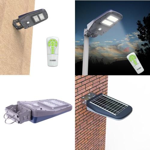 Farola solar LED 10W sensor movimiento mando distancia batería Li-Ion
