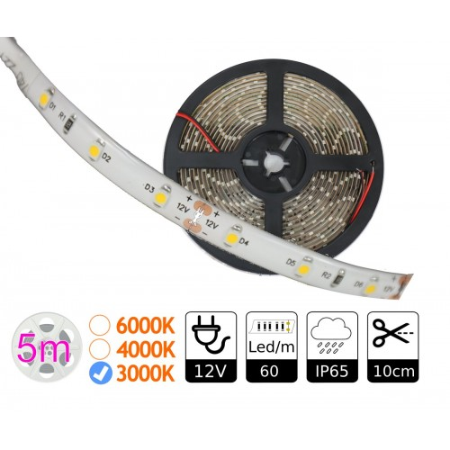 Tira led 12V  3000ºK IP65 60leds SMD3528 doble pcb Bobina 5 mts