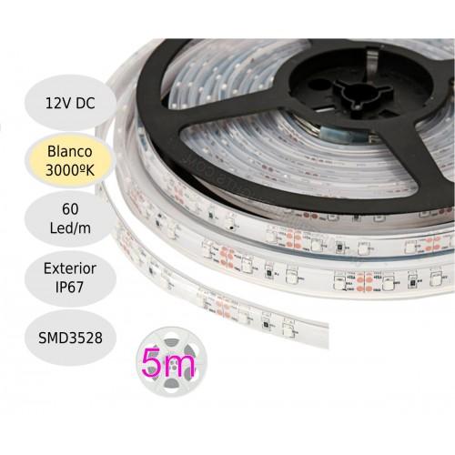 Tira led 12V 3000ºK 60leds/metro sumergible IP67 SMD3528 Bobina 5 mts