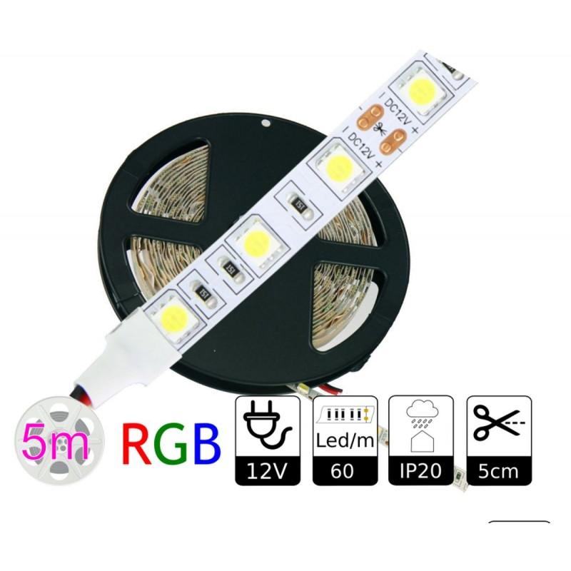 Tira led 12V RGB 60 leds/metro interior IP20 SMD5050 Bobina 5 mts