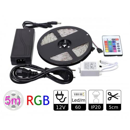 KIT tira LED RGB 5 mts con alimentador y mando