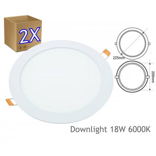 2x Downlight led 18W redondo plano de empotrar luz blanca frío 6000K, aluminio aro blanco mate, para hueco de 200-205mm blanc