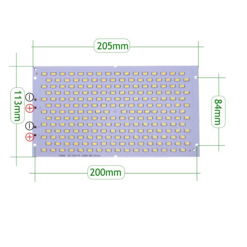 Placa LED 100W 208 led SMD5630 6000K recambio proyector