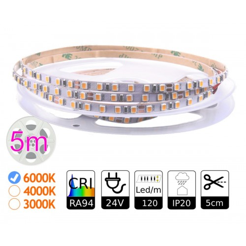 Tira led 24v interior 6000K 120 leds SMD2835 12Wm CRI 94