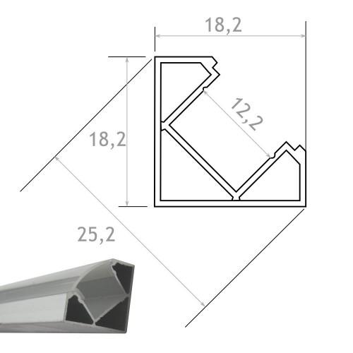 Perfil Aluminio Tira Led Esquina 2 mt Con Tapa Traslúcida 18,2x18,2mm
