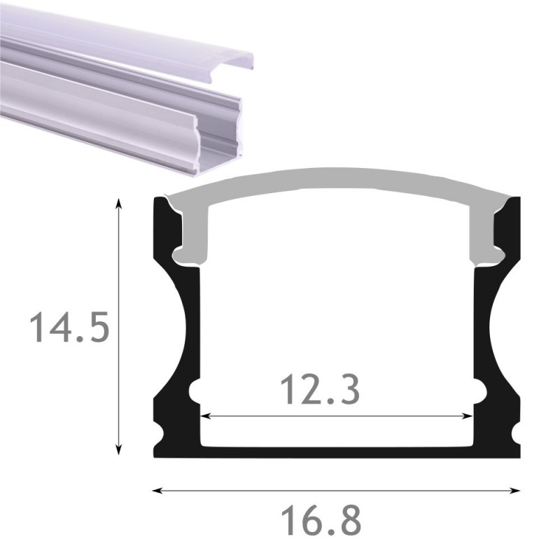 Perfil aluminio led superficie 16x14 con tapa traslucida