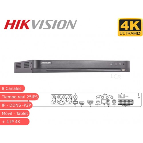 DVR 5 en 1 8 canales 4K 8MP DS-7204HTHI-K2