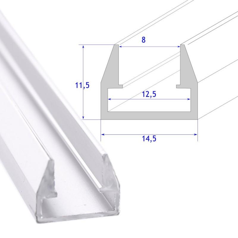 perfil aluminio tira led estante cristal 8 mm barra 2 metros