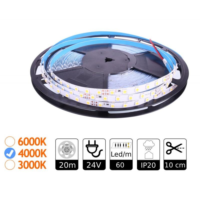 Tira led 24V SMD5050 4000K interior bobina 20m luz constante