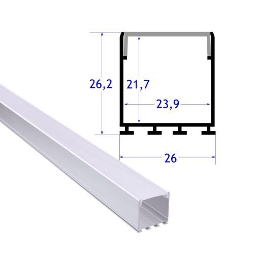 Perfil aluminio superficie colgante 26 mm con tapa 2 metros