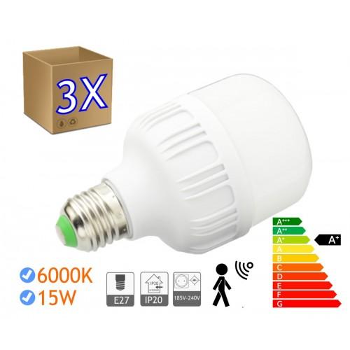 3 x Bombillas LED 15W rosca E27 luz 6000K  blanco frío SENSOR