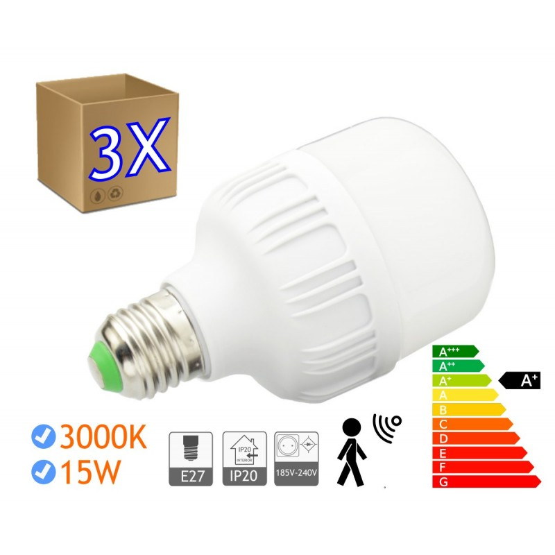 3 x Bombillas LED 15W rosca E27 luz 3000K SENSOR