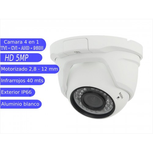 Minidomo IP 5MP exterior varifocal 2.8-12mm IR 30m  blanca