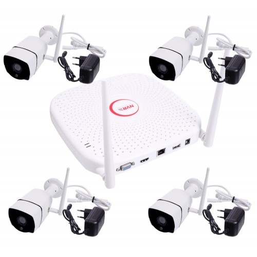 kit cctv 4 camaras wifi exterior 720P blanca infrarrojo